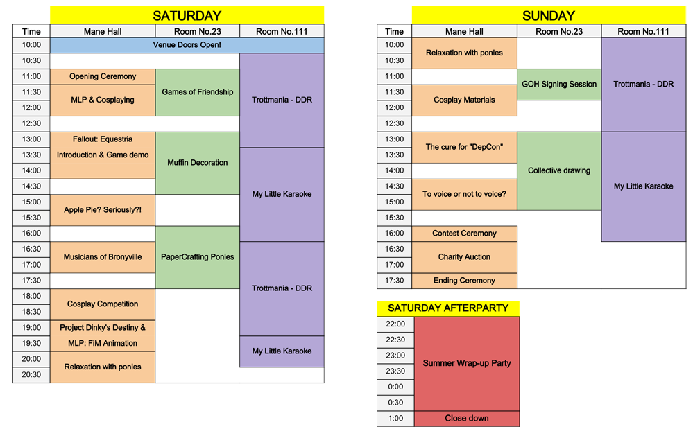 Czequestria 2014 - Schedule
